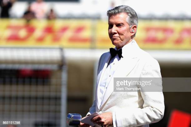 Boxing announcer Michael Buffer on the grid before the United States Formula One Grand Prix at Circuit of The Americas on October 22 2017 in Austin...