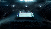 Boxing arena with stadium light full view