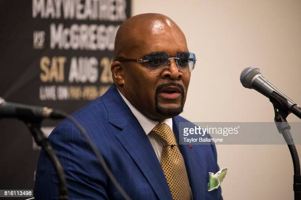 CEO of Mayweather Promotions Leonard Ellerbe speaks to promote the upcoming Super Welterweight fight Floyd Mayweather Jr vs Conor McGregor during New...