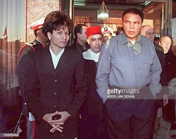 US boxing champion Muhammad Ali and Moroccan 400 meters hurdles champion Nezha Bidouane meet the press 14 January in Casablanca Ali came to Morocco...