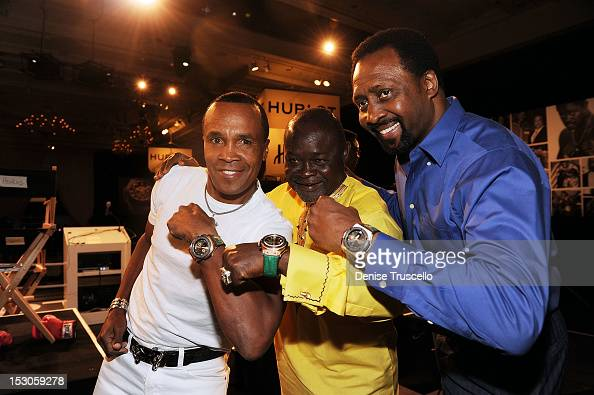 Boxing champions Sugar Ray Leonard Azumah Nelson and Tommy Hearns attend a press conference at Bellagio Las Vegas on September 29 2012 in Las Vegas...