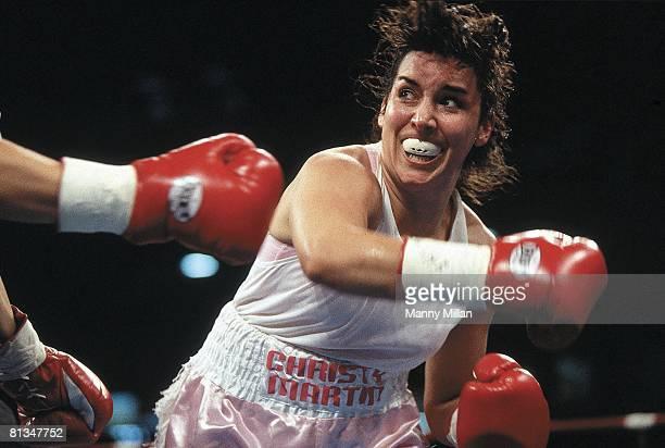 Boxing Closeup of middleweight Christy Martin in action vs Christine Robinson at Georgia Dome Atlanta GA 9/19/1998