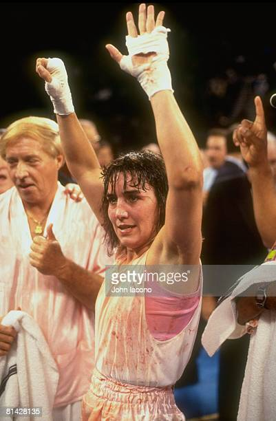 Boxing Closeup of middleweight Christy Martin victorious with injury bleeding after winning fight vs Andrea DeShong at MGM Grand Las Vegas NV...