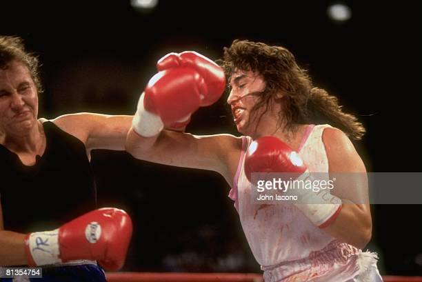 Boxing Closeup of middleweight Christy Martin with injury bleeding during fight vs Andrea DeShong at MGM Grand Las Vegas NV 6/28/1997