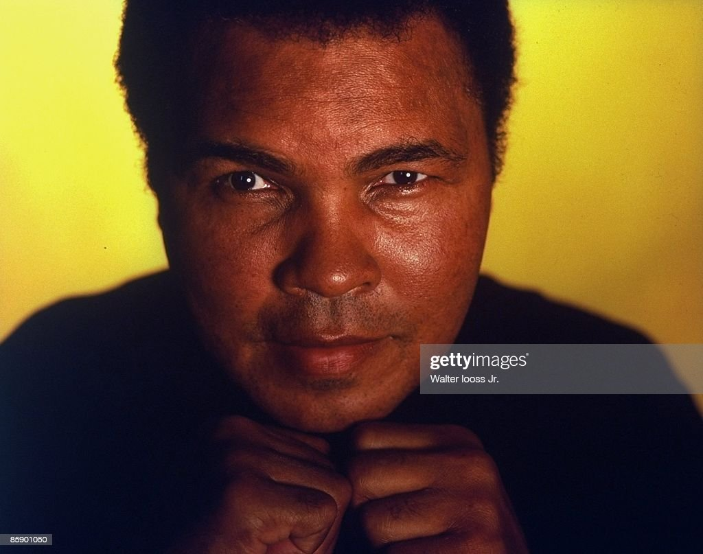 Closeup portrait of former heavyweight champion <a gi-track='captionPersonalityLinkClicked' href=/galleries/search?phrase=Muhammad+Ali+-+Boxer+-+Born+1942&family=editorial&specificpeople=93853 ng-click='$event.stopPropagation()'>Muhammad Ali</a> at his home. Berrien Springs, MI 9/10/1996