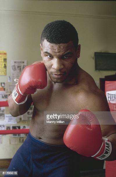 Boxing Closeup portrait of heavyweight Mike Tyson Brooklyn NY 12/1/1985