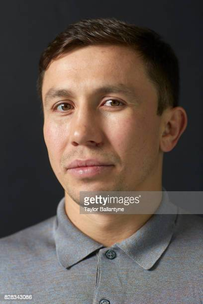 Closeup portrait of middleweight boxer Gennady Golovkin during photo shoot at Time Inc Studios New York NY CREDIT Taylor Ballantyne