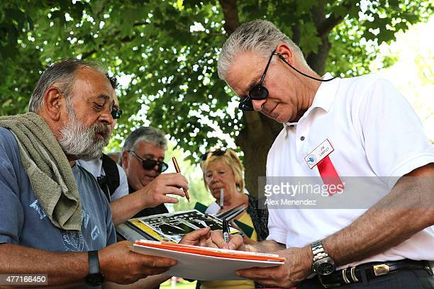 Boxing commentator and inductee Jim Lampley signs autographs at the International Boxing Hall of Fame induction Weekend of Champions events on June...