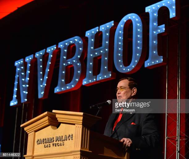 Boxing commentator Bob Sheridan introduces the late Ken Norton as he is inducted posthumously into the Nevada Boxing Hall of Fame at the fifth annual...