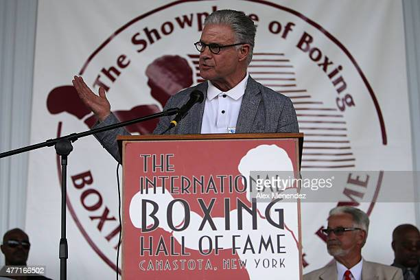 Boxing commentator Jim Lampley speaks during the induction ceremony at the International Boxing Hall of Fame induction Weekend of Champions events on...