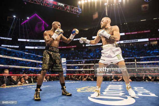 Conor McGregor in action vs Floyd Mayweather Jr during fight at TMobile Arena Las Vegas NV CREDIT Robert Beck