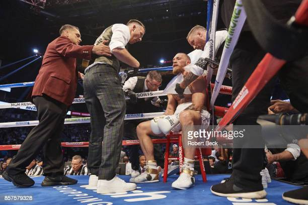 Conor McGregor in corner during fight vs Floyd Mayweather Jr at TMobile Arena Las Vegas NV CREDIT Robert Beck