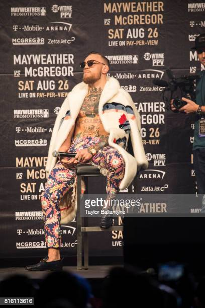 Conor McGregor on stage to promote his upcoming Super Welterweight fight vs Floyd Mayweather Jr during New York leg of press tour at Barclays Center...
