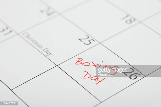 Boxing Day message on calendar