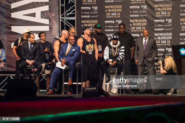 Floyd Mayweather Jr on stage to promote his upcoming Super Welterweight fight vs Conor McGregor during New York leg of press tour at Barclays Center...