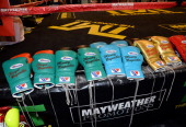 Boxing gloves are displayed before a workout by Floyd Mayweather Jr at the Mayweather Boxing Club on April 22 2014 in Las Vegas Nevada Mayweather...