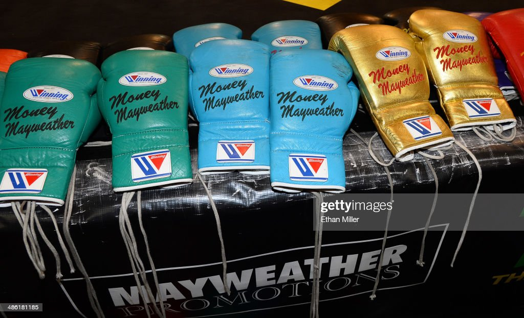 Boxing gloves are displayed before a workout by Floyd Mayweather Jr. at the Mayweather Boxing Club on April 22, 2014 in Las Vegas, Nevada. Mayweather will face Marcos Maidana in a 12-round world championship unification bout in Las Vegas on May 3.