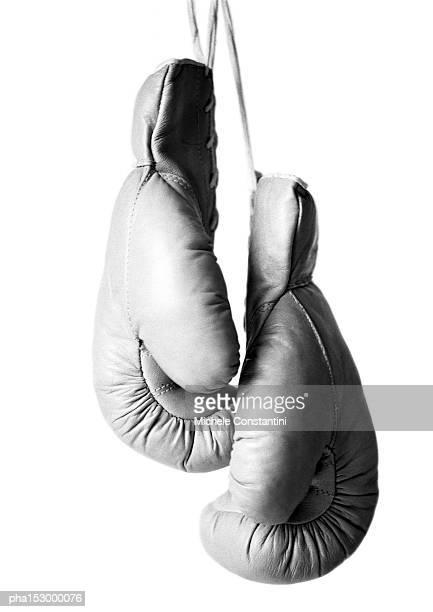 Boxing gloves, b&w.