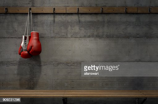 Boxing Gloves Hanging In Change Room : Stock Photo