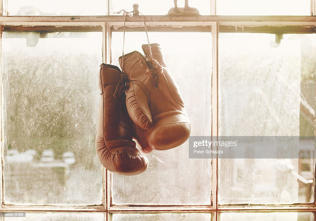Boxing gloves hanging on window : Stock Photo