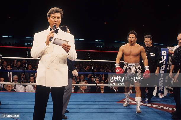 IBC Super Middleweight Title View of announcer Michael Buffer as Vinny Pazienza walks to center ring before fight vs Roberto Duran at Boardwalk...