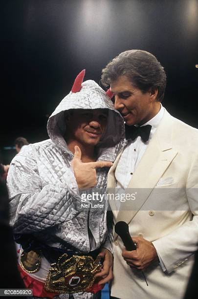 IBC Super Middleweight Title Vinny Pazienza victorious with announcer Michael Buffer after winning fight vs Roberto Duran at Boardwalk Convention...
