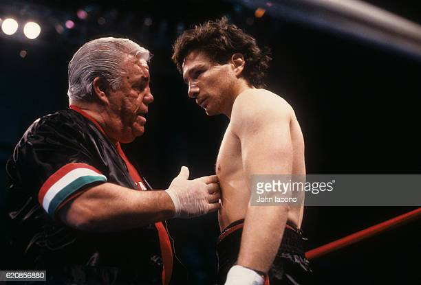 IBF World Lightweight Title Closeup of Vinny Pazienza in his corner with trainer and manager Lou Duva during fight vs Greg Haugen at Boardwalk...