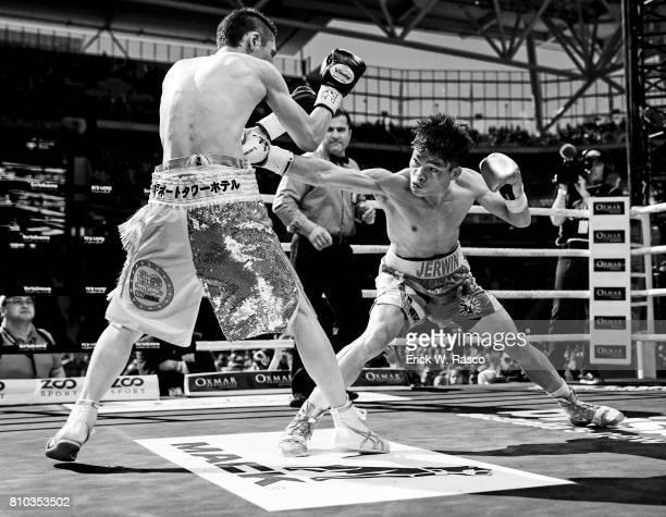 IBF World Super Flyweight Title Jerwin Ancajas in action during super flyweight bout vs Teiru Kinoshita at Suncorp Stadium Brisbane Australia...