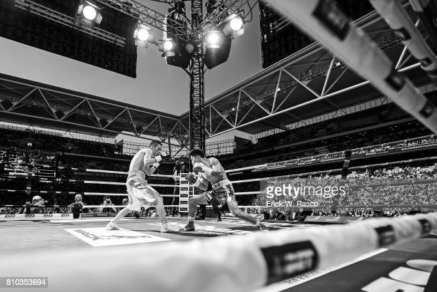 IBF World Super Flyweight Title Overall view of Jerwin Ancajas and Teiru Kinoshita in action during super flyweight bout at Suncorp Stadium Brisbane...