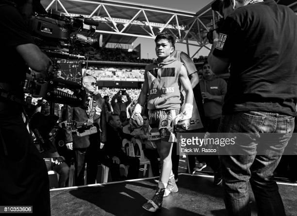 IBF World Super Flyweight Title View of Jerwin Ancajas before super flyweight bout vs Teiru Kinoshita at Suncorp Stadium Brisbane Australia 7/2/2017...