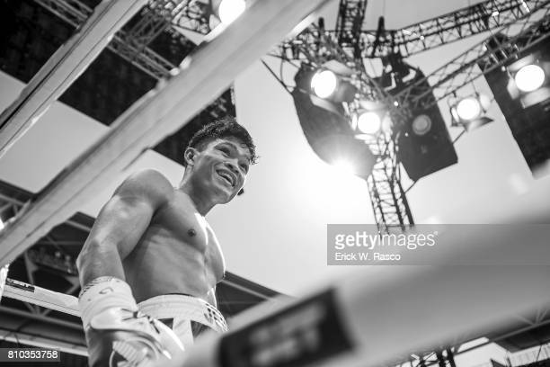 IBF World Super Flyweight Title View of Jerwin Ancajas during super flyweight bout vs Teiru Kinoshita at Suncorp Stadium Brisbane Australia 7/2/2017...