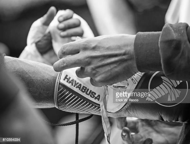 IBF World Super Flyweight Title View of the gloves of Jerwin Ancajas during super flyweight bout vs Teiru Kinoshita at Suncorp Stadium Brisbane...