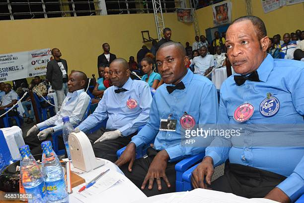 Boxing judges sit during the National boxing championships in the Congolese capital Kinshasa on October 31 to mark the 40th anniversary of the...