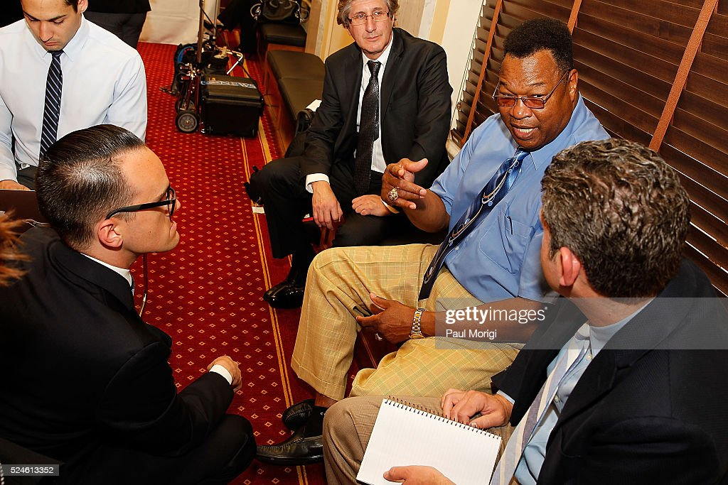 Boxing legend Larry Holmes talks with members of the press at a press conference to show support of professional fighters study at Cleveland Clinic Lou Ruvo Center for Brain Health on April 26, 2016 in the Russell Senate Building in Washington, DC.