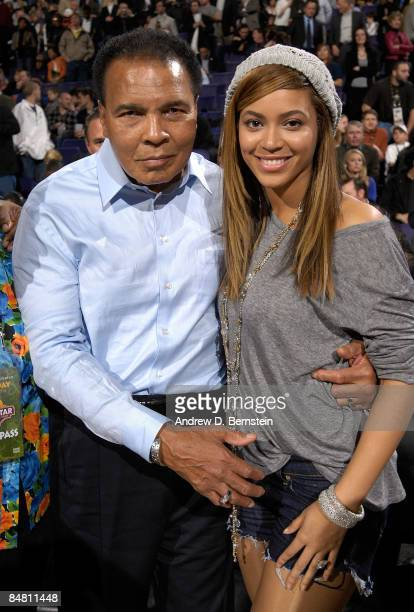Boxing legend Muhammad Ali and singer Beyonce Knowles pose during the 58th NBA AllStar Game part of 2009 NBA AllStar Weekend at US Airways Center on...