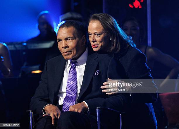 Boxing legend Muhammad Ali and wife Lonnie Ali appear onstage during the Keep Memory Alive foundation's 'Power of Love Gala' celebrating Muhammad...
