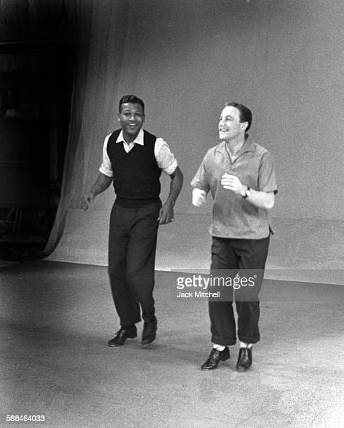 Boxing Legend Sugar Ray Robinson dancing with Gene Kelly for Dancing Is a Man's Game on NBCTV Omnibus on December 21 1958