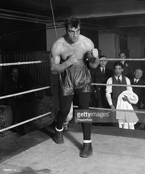 Boxing London England 14th December Italian heavyweight boxer Primo Carnera wearing tights during a training session in preparation for his upcoming...