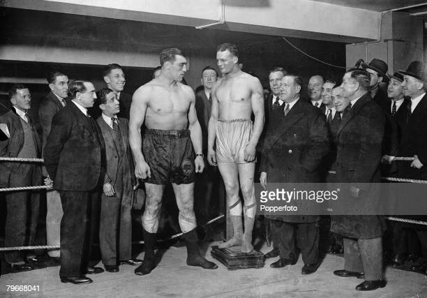 Boxing London England 18th December Italian heavyweight boxer Primo Carnera and British hope Reggie Meen weigh in for their fight at London's Albert...