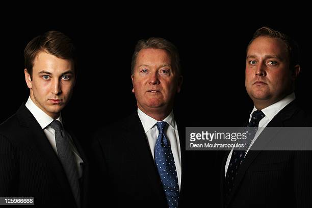Boxing manager and promoter Frank Warren poses with his sons George and Francis after the Frank Warren Press Conference held at the O2 arena on...