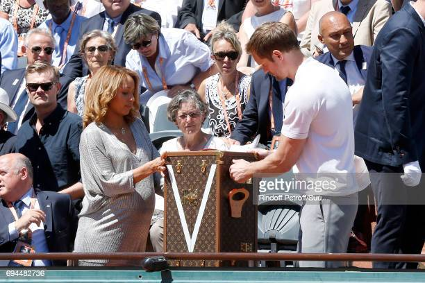 Boxing Olympic Champion Estelle Mossely and Actor Alexander Skarsgard present the SuzanneLenglen's Cup and his Louis Vuitton trunk before the Women...