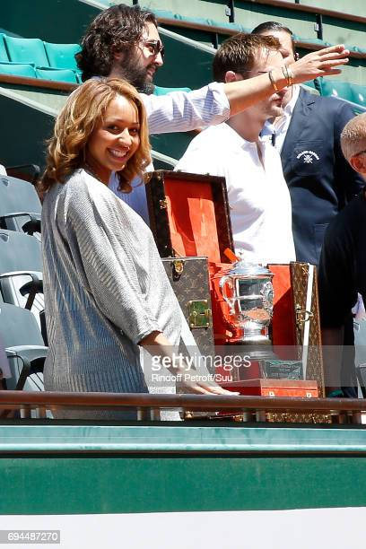 Boxing Olympic Champion Estelle Mossely presents the SuzanneLenglen's Cup and his Louis Vuitton trunk before the Women Final of the 2017 French...