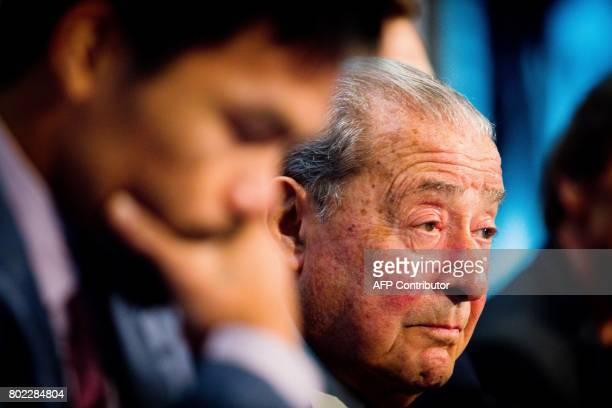 Boxing promoter Bob Arum attends during a press conference to promote Philippine boxer Manny Pacquiao's WBO Welterweight title fight against...