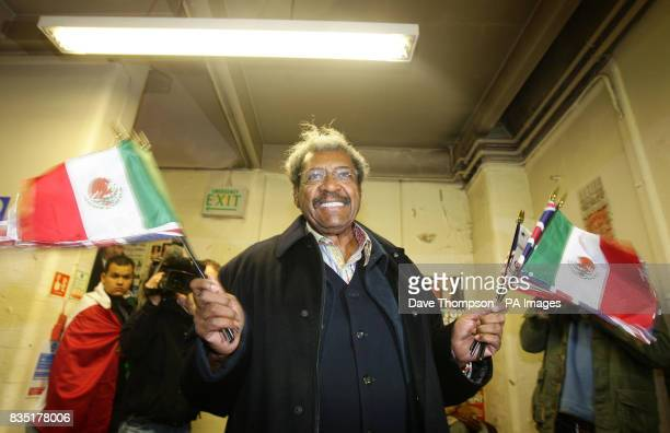 Boxing promoter Don King arrives before a light training session for Marco Antonio Barrera at Shannon's Gym Pennyhill Park Openshaw