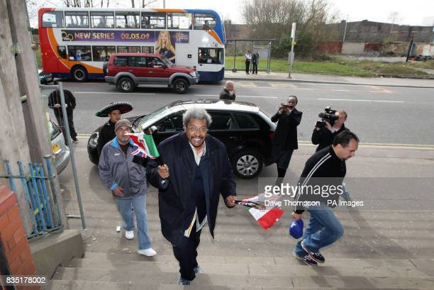 Boxing promoter Don King arrives before Marco Antonio Barrera's light training session at Shannon's Gym Pennyhill Park Openshaw