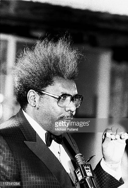 Boxing promoter Don King at a Jacksons press conference in 1984 New York King promoted the band's Victory tour