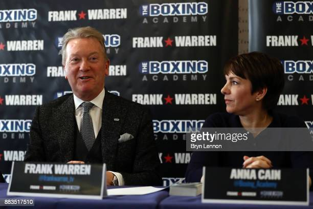 Boxing Promoter Frank Warren and The Boxing Academy CEO Anna Cain talk to the media during a Boxing Academy Press Conference on November 30 2017 in...