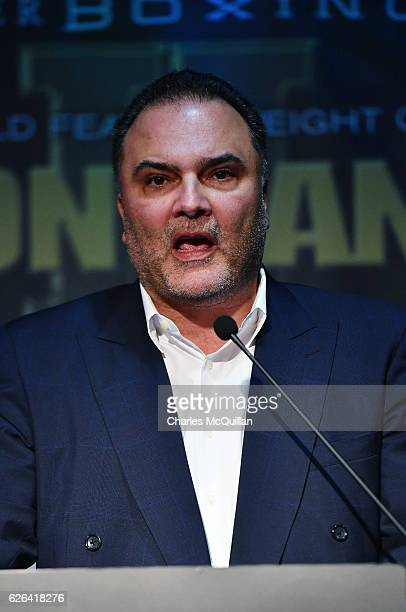 Boxing promoter Richard Schaefer is pictured during a press conference for the WBA World Featherweight title rematch between Carl Frampton and Leo...