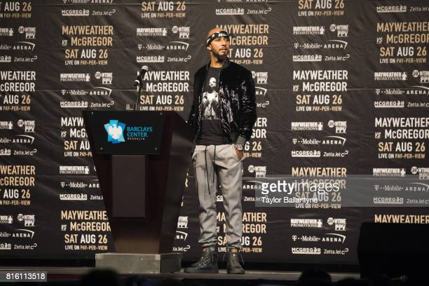 Rapper and producer Swizz Beatz speaks on stage for Floyd Mayweather Jr vs Conor McGregor event promoting their upcoming Super Welterweight fight...