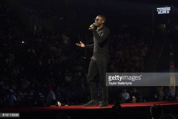 Rapper Doug E Fresh speaks on stage for Floyd Mayweather Jr vs Conor McGregor event promoting their upcoming Super Welterweight fight during New York...